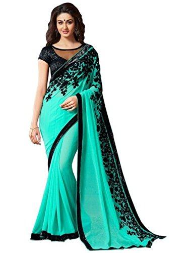 Women's Saree Sari Designer Indian Dress Bollywood Ethnic Party (Free Size, Green)