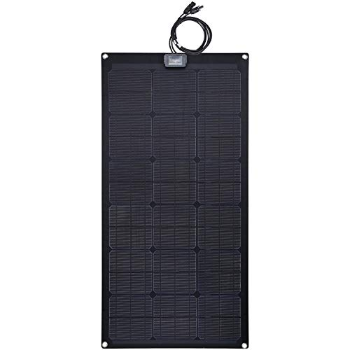 Lensun 80W 12V Black Fiberglass Semi-Flexible Monocrystalline Solar Panel for 12V Charge Battery on Boats, Caravans, Motorhomes, Camping Vans, Yachts, RVs ()