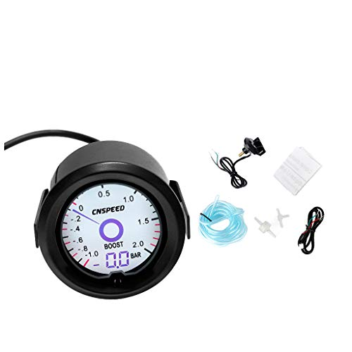 FLAMEER Instrument 52mm Performance Boost Universal Meter Gauge 30PSI/Gauge/Black/White 7 Colors Light / 12V: