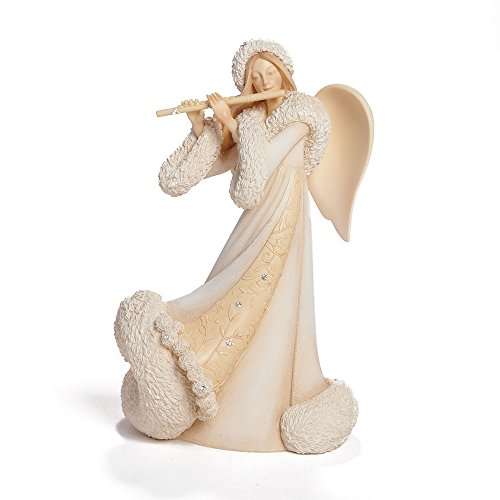 Enesco Foundations Gift Christmas Angel Playing Flute Figurine, 7.68-Inch