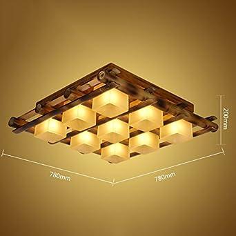 Lámpara de techo retro de madera maciza de bambú, para restaurante, salón, escaleras, balcón, lámpara decorativa de lámparas y linternas E27 varios estilos (tamaño: 78 x 78 x 20 cm): Amazon.es: Iluminación