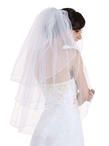 (3T 3 Tier Sattin Rattail Cord Edge Bridal Wedding Veil - White Color Fingertip Length 36