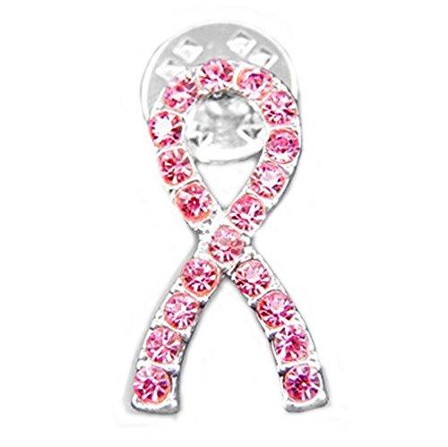 Breast Cancer Awareness Crystal Pink Ribbon Pin