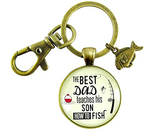 Fishing Dad Keychain The Best Dad Teaches His Son How to Fish Rustic Meaningful Mens Father Gift