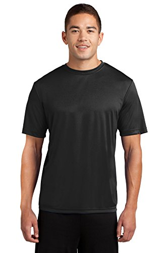 Wicking Moisture T-shirt Black - Dri-Tek Mens Big & Tall Short Sleeve Moisture Wicking Athletic T-Shirt, 2XLT, Black