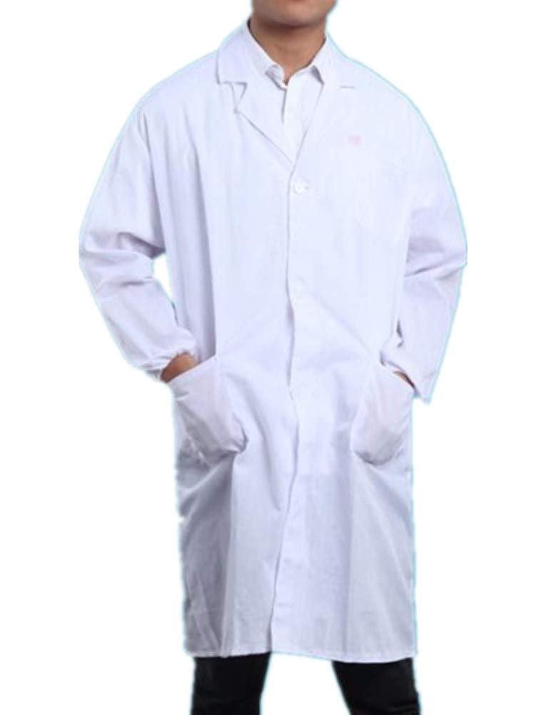 ZBSPORT Unisex Camice Bianco da Laboratorio in Cotone Maniche Lunghe Collare Piatto Camice da Lavoro Cappotto Medico Scienziato
