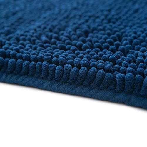 Famibay Bath Mat, Shaggy Chenille Bath Mat Microfiber Hotel Spa Bath Rug and Mat For Bathroom No slip Bath Tub and Shower High Absorbent Soft Large Accent Rugs, 23.6x35.4 Inches Navy by Famibay (Image #4)