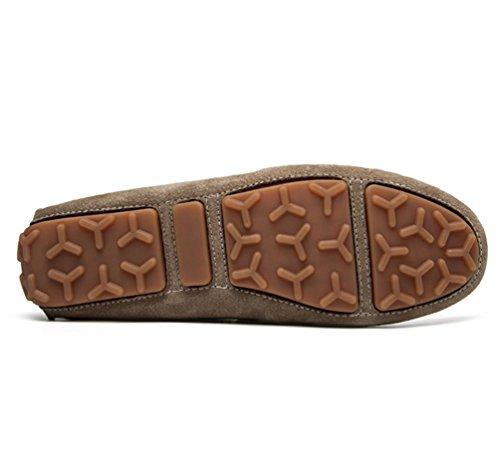 Jitong Herren Mokassins Hausschuh Faux Wildleder Fahren Schuhe Kunstpelz Gefüttert Slipper Loafers Khaki