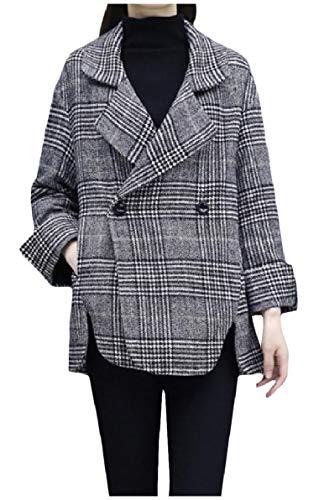 Zimaes-Women Lapel Collar Plaid Wool Blend Blazer Short Style Trench Coat Jacket AS1 M ()