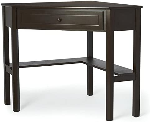 This Classically Styled Desk utilizes a Small Space for a Big Impact, with Stylish Under-Desk Shelving and a Drawer to Hide Clutter. Simple Living Wood Corner Computer Desk Espresso