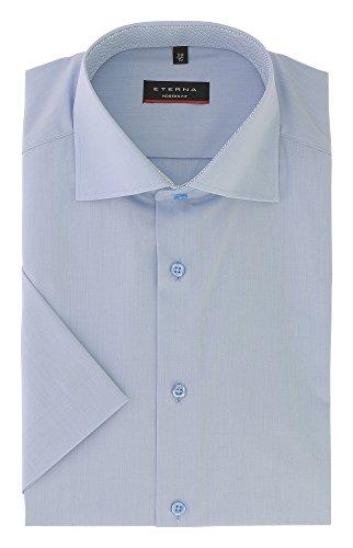 ETERNA Herren Kurzarmhemd aus 100% Baumwolle Modern Fit mit Kent Kragen Gr. 38 Blau