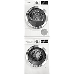 Bosch 800 Series White Front Load Compact Laundry Stacked Pair with WAT28402UC 24' Washer, WTG86402UC 24' Electric Condensation Dryer and WTZ20410 Stacking Kit
