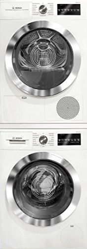 Bosch 800 Series White Front Load Compact Laundry Stacked Pair with WAT28402UC 24