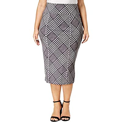 Melissa McCarthy Seven7 Womens Plus Plaid Below Knee Pencil Skirt