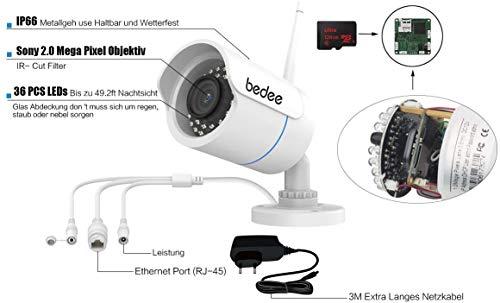 bedee Überwachungskamera Aussen Wlan IP Kamera 1080P FHD WIFI Kamera Wasserdichte Sicherheitskamera Außenkamera Unterstützung Bewegungserkennung,IR Nachtsicht,128G SD Karte ,9.8ft Netzteil für Outdoor