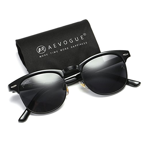 (AEVOGUE Polarized Sunglasses Semi-Rimless Frame Brand Designer Classic AE0369 (Black&Black Frame, 48))