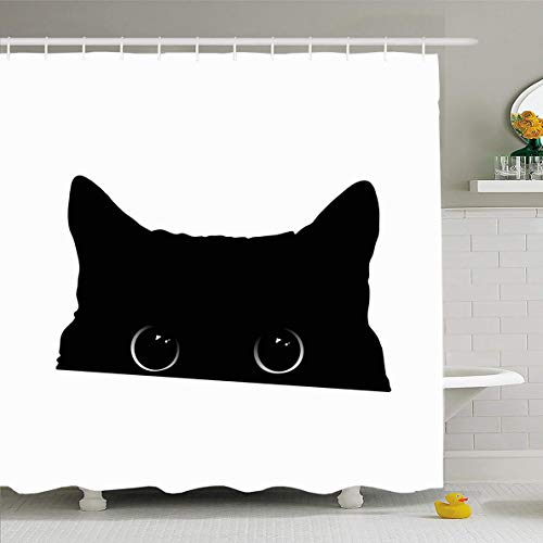 (Ahawoso Shower Curtain 60x72 Inches Eyes Cute Black Cat Face Big Wildlife Drawing Attack Design Monochrome Waterproof Polyester Fabric Bathroom Curtains Set with Hooks)