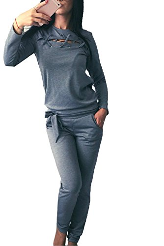 Minetom Mujeres Casual Chándales Hendidura Sweatshirt Manga Larga Camiseta Tops y Pantalones 2 Piezas Basculador Conjuntos Deportivos Gris