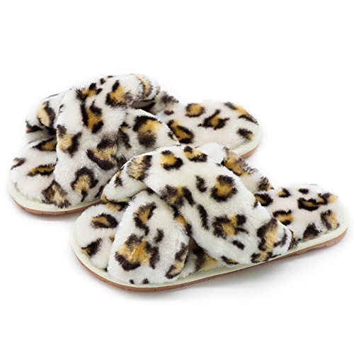 UBXRIN Womens Fuzzy Fluffy House Slippers Slide Furry Fur Sandals with Strap Soft Plush Open Toe Indoor Outdoor