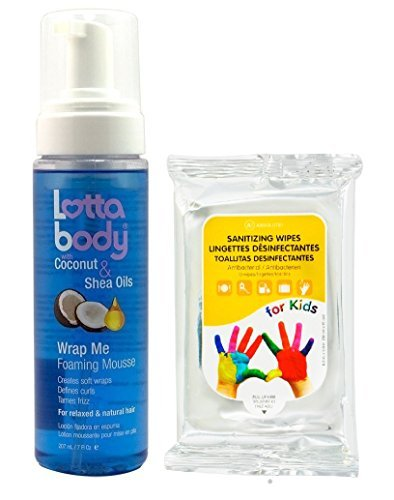 Lottabody Wrap Me Foaming Mousse with Coconut & Shea Oil 7 fl. oz. with Nicka K Sanitizing Wipes 10ct by Lotta body Lottabody Wrap