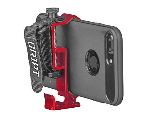 GRIPT Secure Smartphone Rig - Universal Tripod Adapter, Phone Hand Grip and Smartphone Accessory Mount - Red