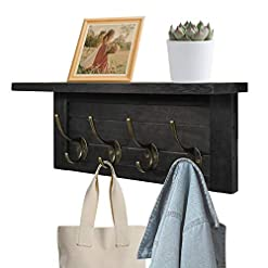 Entryway ugiftt Rustic Coat Rack Wall Mounted with Shelf,Farmhouse Entryway Shelf with 4 Vintage Metal Hooks,Wall Coat Hooks and…