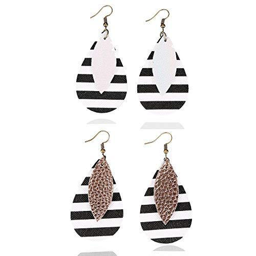 Earrings Leaf Double - ASHMITA Leather Teardrop Earrings for Women Girls Dangle Leaf Earring Set