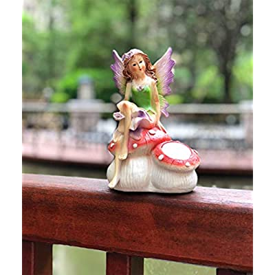Solar Powered Fairy Angel with Wings and Solar Glowing Light, Garden Light Decor