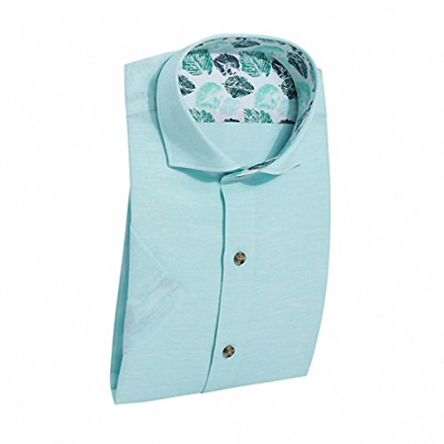 Fashion Men Button Down Shirts Short Sleeve Candy Color Basic Brand Linen Shirts Business Casual Shirts Men Top 108A30360 Light Green M - Taco Shirt Button Down