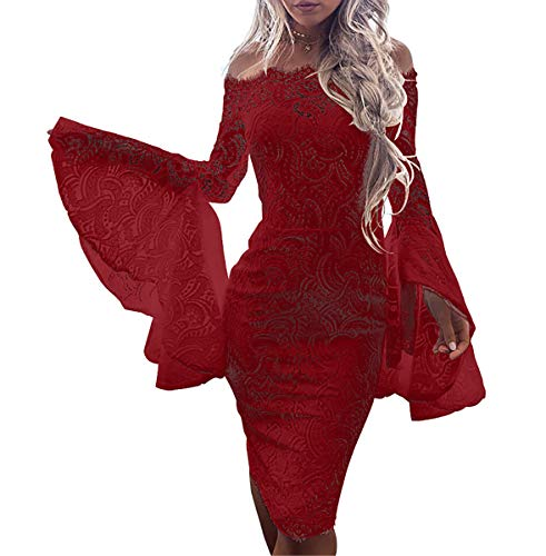 Lace Dress Flounce (Mycherish Women's Sexy Off Shoulder Floral Lace Ruffle Flounce Sleeves Tube Top Bodycon Sheath Party Midi Dress Red L)