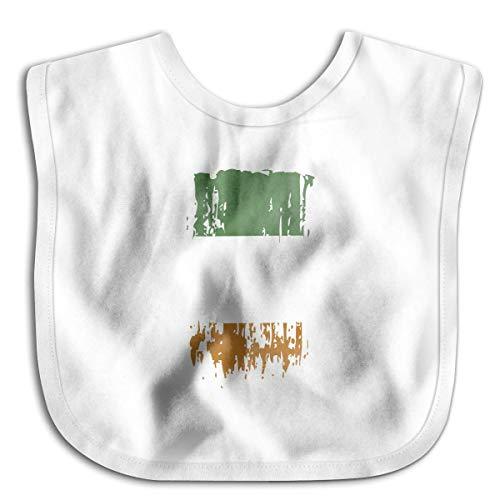 Premium Baby Bandana Drool Bibs, Boys Girls Burp Cloths for Drooling and Teething [IE IRL Ireland Flag White]