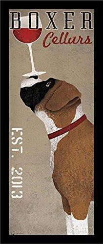 "Buyartforless IF WAP 13369 1.25"" Blk Plexi Framed Boxer Cellars Ryan Fowler Advertisements Vintage Ads Dogs Wine Print Poster 8X20"