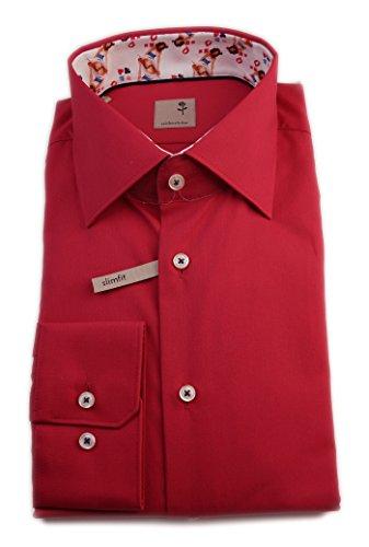 Seidensticker Herren Langarm Hemd Schwarze Rose Slim Fit rot mit Patch 240396.48