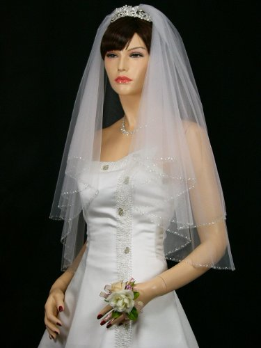 2T 2 Tier Silver Lined Beaded Edge Bridal Wedding Veil - White Elbow Length 30""