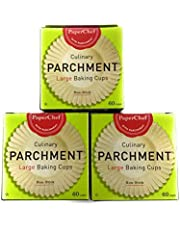 Parchment Paper Baking Cups Large Cupcake Liners Natural Culinary Non-Stick Biodegradable 3-Pack