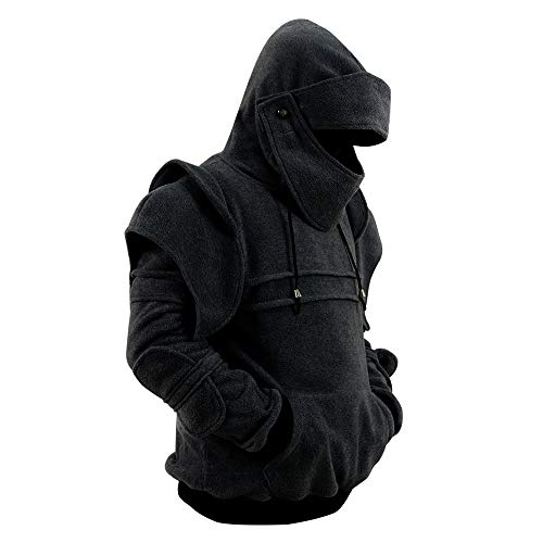 Men's Arthur Knight Hoodie Medieval Armor Sweatshirt Hooded Jacket Coat (Men M, Black)]()
