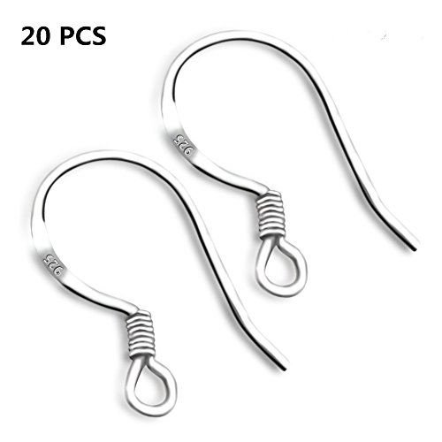 ChicU 925 Sterling Silver French Wire Earring Hooks Fish Hook Earrings Sterling Silver Earwires 20 PCS by (hooks)