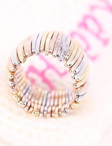 Graceful Joy Elastic Stretch Rings Resizable Statement Ring Multi-Color Bar Shape Strand Finger Rings