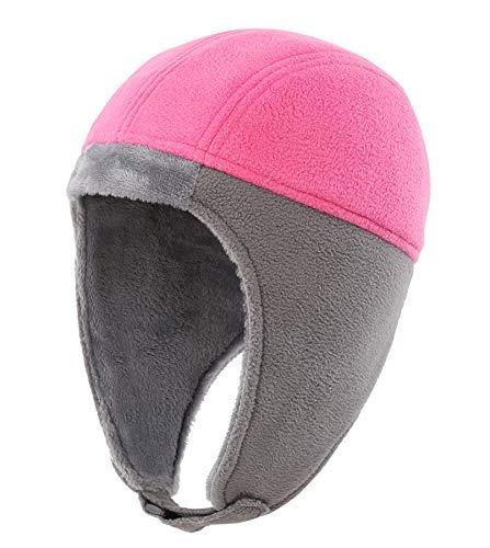 Connectyle Little Girls Kids Micro Fleece Warm Winter Hats with Ear Flaps Beanie Hat Skully Watch Cap Rose Red