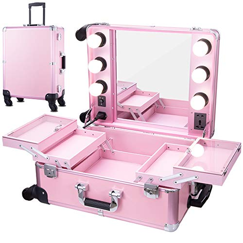 (Chende Pink Pro Studio Artist Train Rolling Makeup Case with Light Wheeled Organizer (Pink))