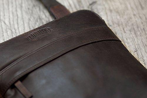 marrón para KLONDIKE Bolso robusta marrón de práctica cuero hombres y bandolera auténtico y 'Sam' 1896 mujeres bandolera rrwqPZB