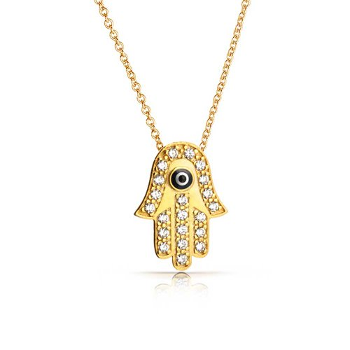Hamsa Hand of Fatima Of God Evil Eye Protection Pendant Necklace For Women 12K Gold Plated 925 Sterling Silver Turkish