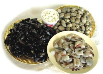 Shellfish Party, 100 Littleneck Clams, 1 Lb. Jumbo Shrimp, 2 Lbs. Mussels, 1 Lb. Lump Crabmeat