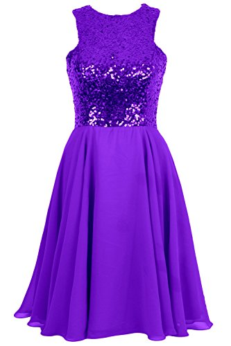 MACloth Women Sequin Chiffon Short Wedding Bridesmaid Dress Formal Evening Gown Morado