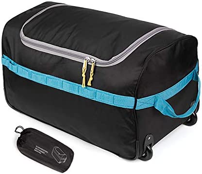 REDCAMP Foldable Duffle Bag with Wheels 85L 26 , 1680D Oxford Collapsible Large Duffel Bag with Rollers for Camping Travel Gear, Black