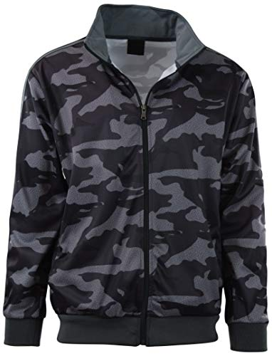 ChoiceApparel Mens Full Zip Up Warm Up Track Jacket (XL, 6333-Camo Grey) (Warm Army Jacket Up)