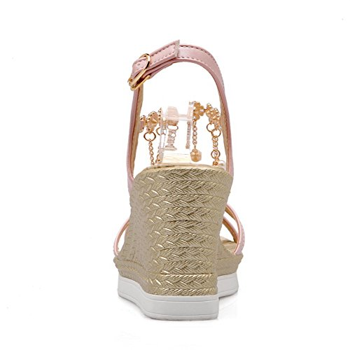 Amoonyfashion Donna Open Toe Tacco Alto Materiale Morbido Zeppa Fibbia-sandali Rosa