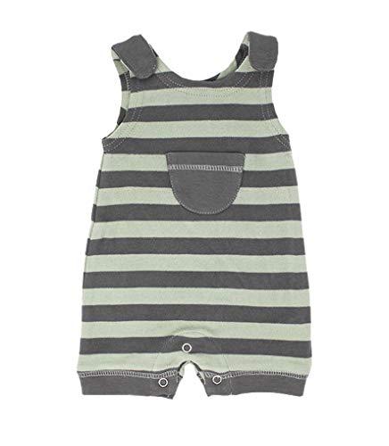 - L'ovedbaby Unisex-Baby 100% Organic Cotton Sleeveless Romper (Gray/Seafoam Stripe, 3-6 Months)
