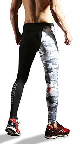 [GRACES]Men's Sports Trousers Athletic Gym Workout Compression Fancy Camo Pants Tights (L)