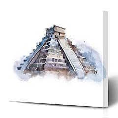 """Onete Canvas Prints Painting Artwork 8x10 Pyramid Ruins Chichen Paint Itza Tourism Mexico Watercolor Kukulkan Drawing Landmarks Spirituality Wall Art Printing HOME Bedroom Living Room Office DormSize: 8""""W x 10""""L/0.79"""" Thick;Beautiful canvas w..."""
